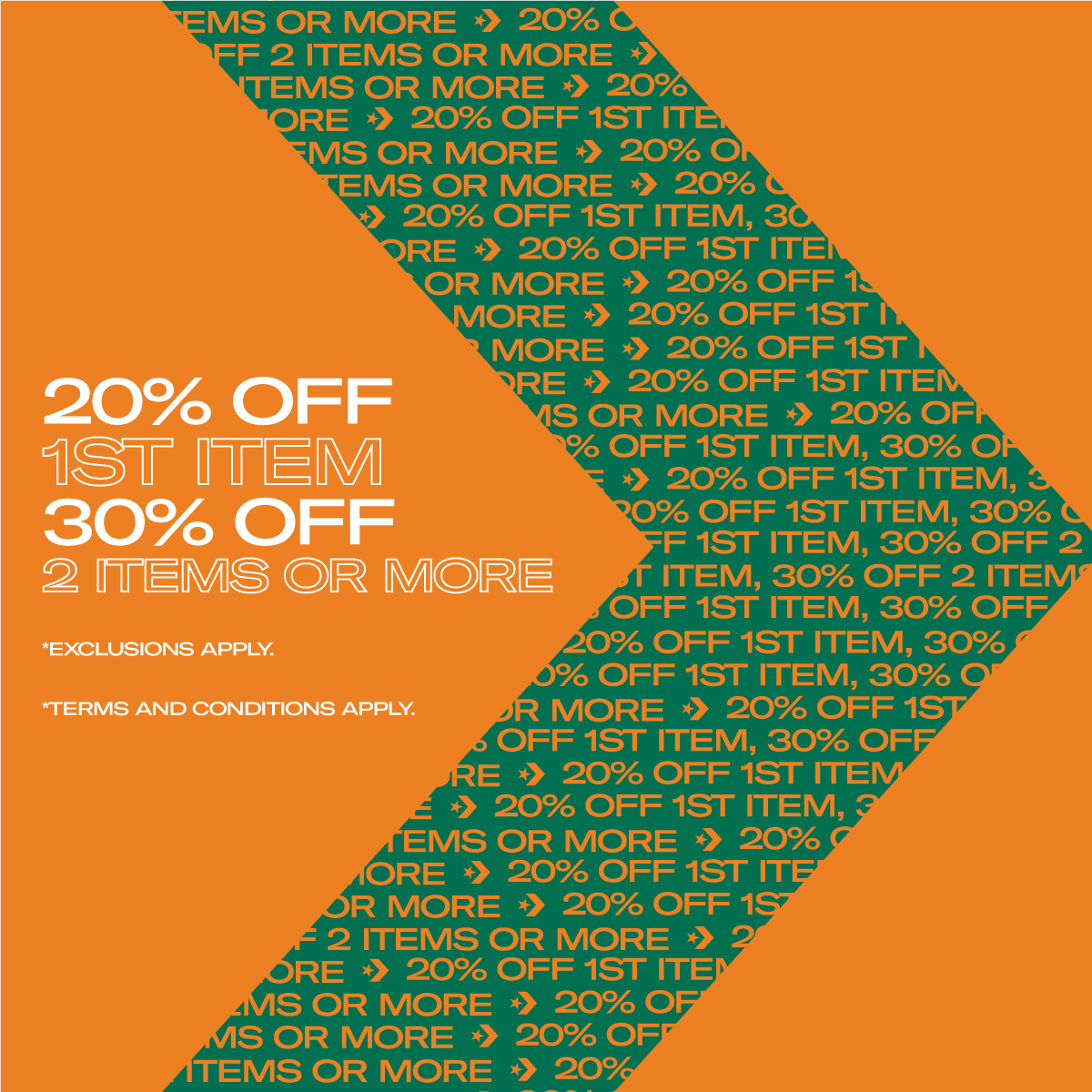 Converse Great Singapore Sale is here!  From 17 Sep, enjoy 20% OFF for 1st item, 30% OFF for 2 items or more!